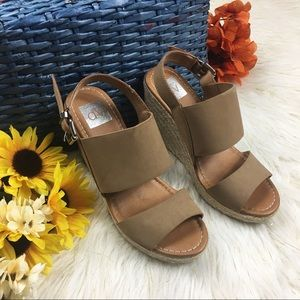Dolce Vita Tan and Brown Wedge Slingback Sandals